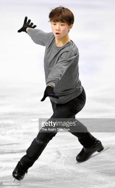 Kazuki Tomono in action during an offiical practice session ahead of the 86th All Japan Figure Skating Championships at the Musashino Forest Sports...