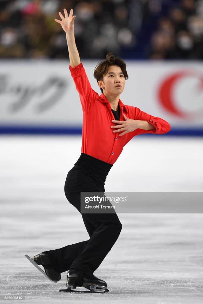 Kazuki Tomono of Japan competes in the men free skating during day four of the 86th All Japan Figure Skating Championships at the Musashino Forest Sports Plaza on December 24, 2017 in Chofu, Tokyo, Japan.