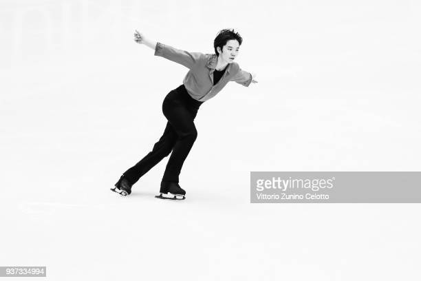 Kazuki Tomono of Japan competes in the Men's Free Skating during day four of the World Figure Skating Championships at Mediolanum Forum on March 24...