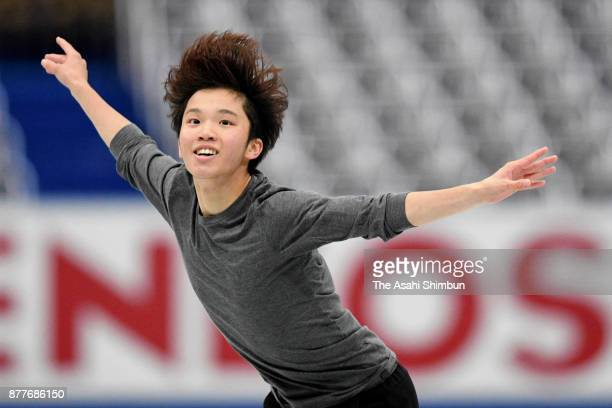 Kazuki Tomono of Japan in action during a practice session ahead of the Men's Singles short program during day one of the ISU Grand Prix of Figure...