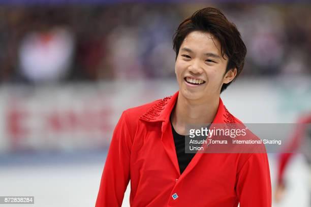 Kazuki Tomono of Japan smiles after competing during the ISU Grand Prix of Figure Skating at on November 11 2017 in Osaka Japan