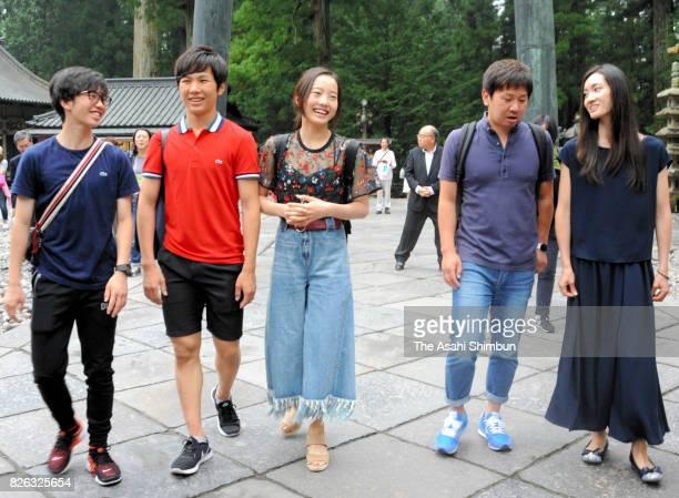 Kazuki Tomono Taichi Honda Marin Honda and Shizuka Arakawa visit Nikko Toshogu Shrine on August 4 2017 in Nikko Tochigi Japan