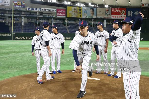 Kazuki Yabuta of Japan in action during the Eneos Asia Professional Baseball Championship Official Training Press Conference at Tokyo Dome on...