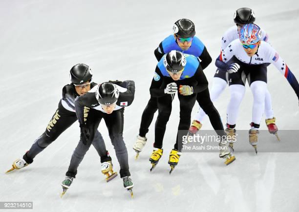 Kazuki Yoshinaga and Hiroki Yokoyama compete in the Short Track Speed Skating Men's 5000m Relay Final B on day thirteen of the PyeongChang 2018...
