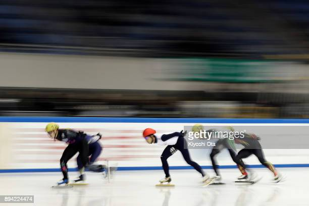 Kazuki Yoshinaga competes in the Men's 1000m Heat during day two of the 40th All Japan Short Track Speed Skating Championships at Nippon Gaishi Arena...