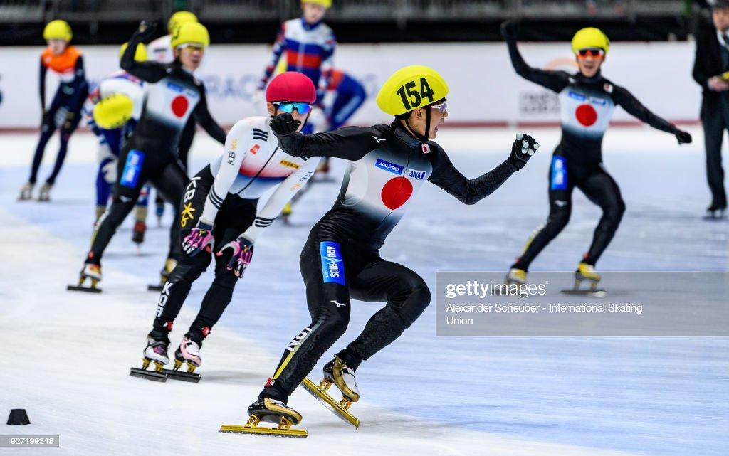 Kazuki Yoshinaga of Japan celebrates winning the Mens 3000m Relay Final A during the World Junior Short Track Speed Skating Championships Day 2 at Arena Lodowa on March 4, 2018 in Tomaszow Mazowiecki, Poland.