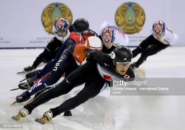 Kazuki Yoshinaga of Japan competes during the men second 1500 meter final A race during the ISU Short Track World Cup Day 2 at Halyk Arena on...