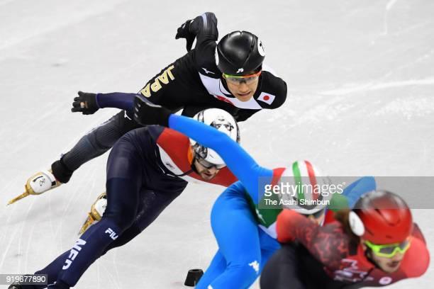 Kazuki Yoshinaga of Japan competes during the Short Track Speed Skating Men's 1000m quarterfinal on day eight of the PyeongChang 2018 Winter Olympic...