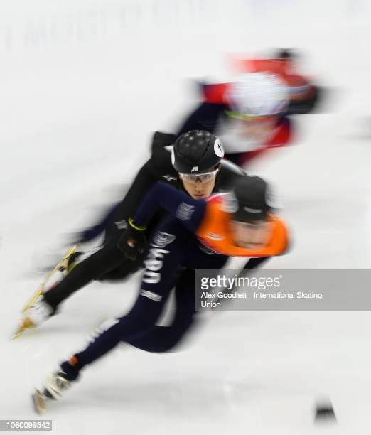 Kazuki Yoshinaga of Japan competes in a men's 1500m semifinal during ISU World Cup Short Track Salt Lake City on November 10 2018 in Salt Lake City...