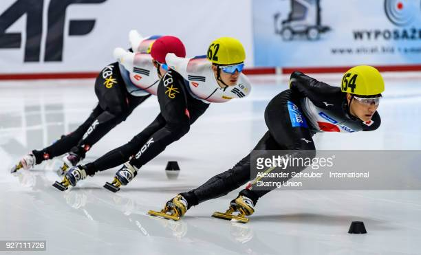 Kazuki Yoshinaga of Japan competes in the Mens 1000m Final A during the World Junior Short Track Speed Skating Championships Day 2 at Arena Lodowa on...