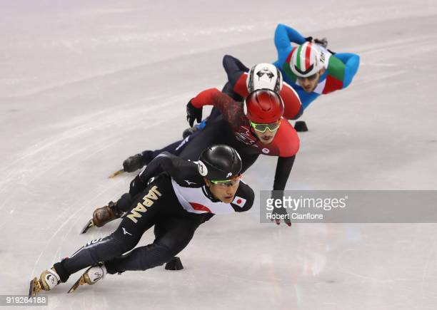 Kazuki Yoshinaga of Japan competes in the Men's 1000m quarterfinasl during the Short Track Speed Skating on day eight of the PyeongChang 2018 Winter...