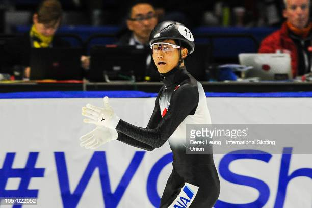 Kazuki Yoshinaga of Japan finishes first in the final 1500m men's with a time of 217285 during the ISU World Cup Short Track Calgary at the Olympic...