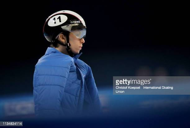 Kazuki Yoshinaga of Japan is seen during the ISU World Short Track Speed Skating Championships Day 2 at Armeec Arena on March 09 2019 in Sofia...