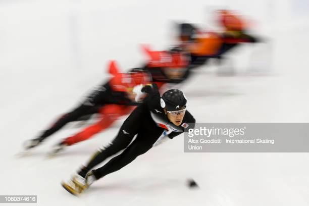 Kazuki Yoshinaga of Japan leads a men's quarterfinal 1000m race during ISU World Cup Short Track Salt Lake City at the Utah Olympic Oval on November...