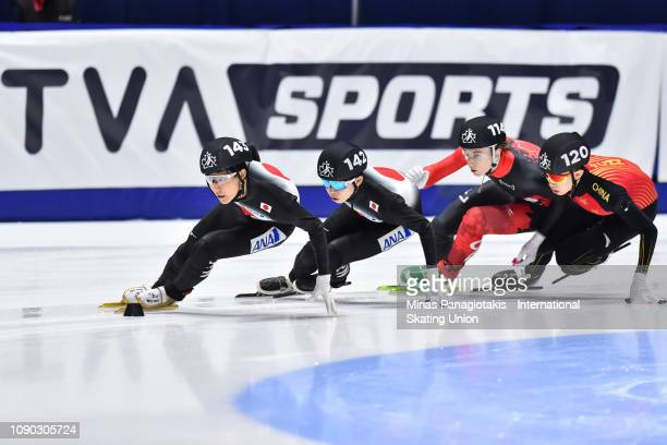 Kazuki Yoshinaga of Japan leads against Shogo Miyata of Japan Matej Pederson of Canada Wang Pengyu of China in the men's 1000m quarterfinal during...