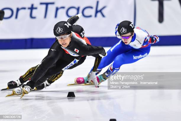 Kazuki Yoshinaga of Japan leads the group in the men's 1000m quarterfinal during the ISU World Junior Short Track Championships at Maurice Richard...