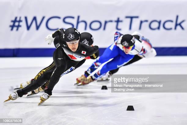 Kazuki Yoshinaga of Japan skates ahead of the group in the men's 1000m final during the ISU World Junior Short Track Championships at Maurice Richard...