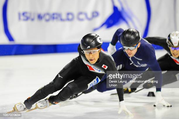 Kazuki Yoshinaga of Japan skates for the fastest time in the men's semifinal 1500m with a time of 212679 during the ISU World Cup Short Track Calgary...