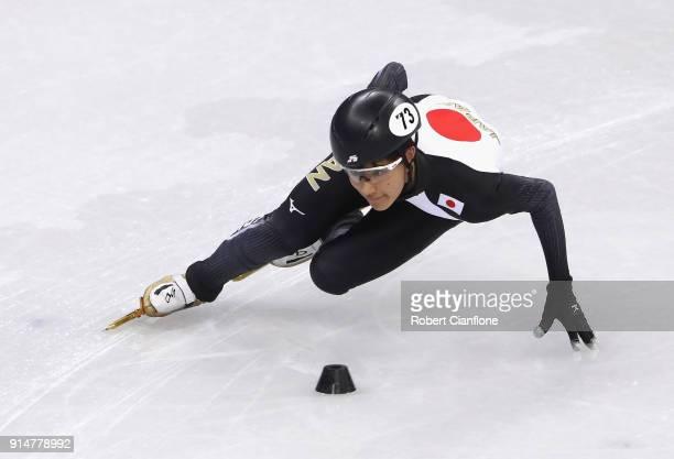 Kazuki Yoshinaga of Japan trains during Short Track Speed Skating practice ahead of the PyeongChang 2018 Winter Olympic Games at Gangneung Ice Arena...