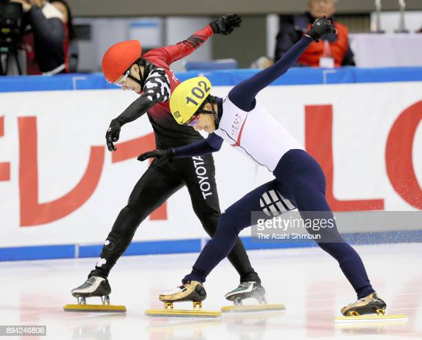 Kazuki Yoshinaga wins over Hiroki Yokoyama in the Men's 500m Final A during day one of the 40th All Japan Short Track Speed Skating Championships at...