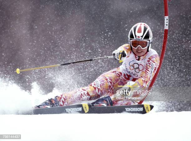 Kazuko Ikeda of Japan skiing in the Women's Giant Slalom event on 20 February 1998 during the XVIII Olympic Winter Games at Shiga Kogen Nagano Japan