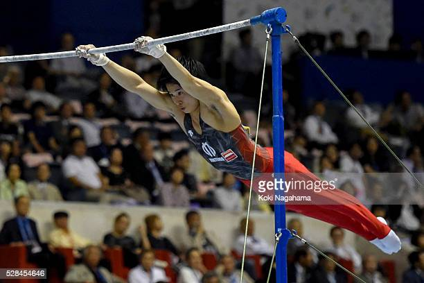 Kazuma Kaya competes in the Horizontal Bar during the Artistic Gymnastics NHK Trophy at Yoyogi National Gymnasium on May 5 2016 in Tokyo Japan