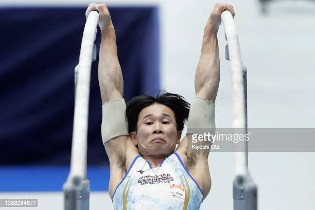 Kazuma Kaya competes in the Men's Parallel Bars qualifying round on day one of the 75th All Japan Artistic Gymnastics Apparatus Championships at the...
