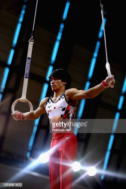 Kazuma Kaya of Japan competes in the Men's Rings Qualification during day two of the 2018 FIG Artistic Gymnastics Championshipsat Aspire Dome on...