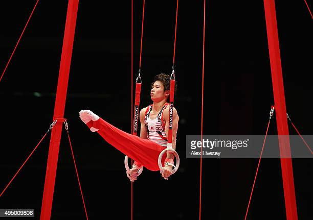 Kazuma Kaya of Japan competes in the Rings during day eight of the 2015 World Artistic Gymnastics Championships at The SSE Hydro on October 30 2015...