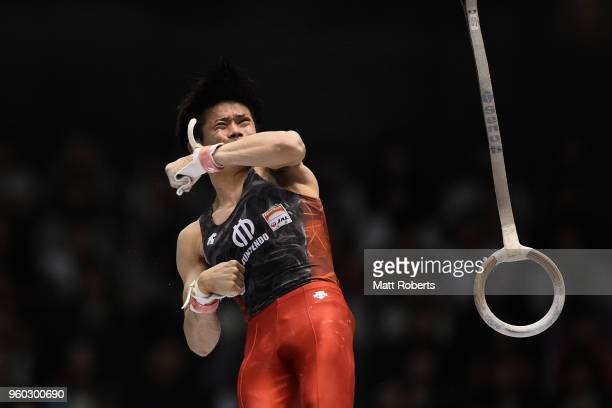 Kazuma Kaya of Japan competes on the rings during day two of the 57th Artistic Gymnastics NHK Trophy at the Tokyo Metropolitan Gymnasium on May 20...