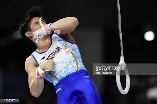 Kazuma Kaya of Japan competes on the Rings during day two of the Artistic Gymnastics NHK Trophy at Musashino Forest Sport Plaza on May 19, 2019 in...