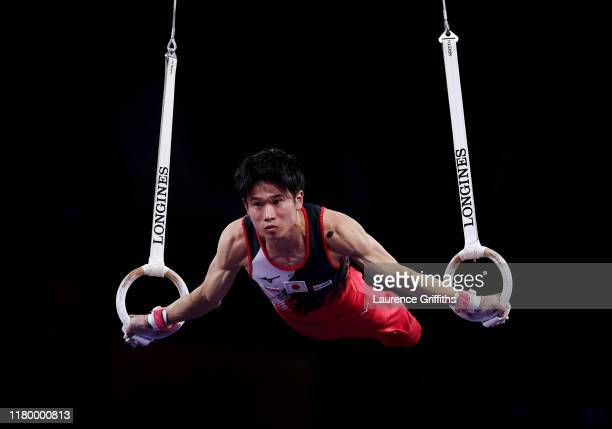 Kazuma Kaya of Japan competes on the Rings during the Men's Team Final on Day 6 of FIG Artistic Gymnastics World Championships on October 09 2019 in...