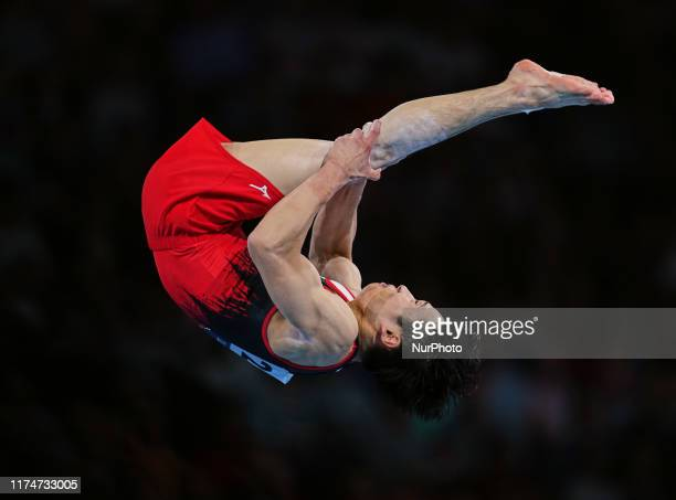 Kazuma Kaya of Japan during floor exercise for men at the 49th FIG Artistic Gymnastics World Championships in Hanns Martin Schleyer Halle in...