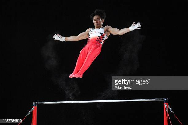 Kazuma Kaya of Japan in action on the High Bar during the 2019 Gymnastics World Cup at Resorts World Arena on March 23 2019 in Birmingham England