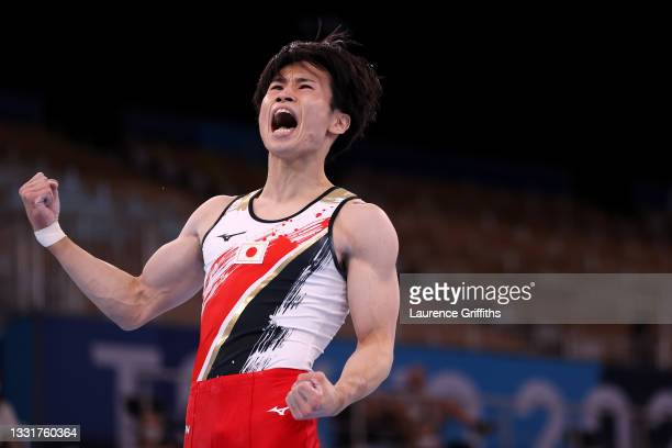 Kazuma Kaya of Team Japan celebrates following his performance in the Men's Pommel Horse Final on day nine of the Tokyo 2020 Olympic Games at Ariake...
