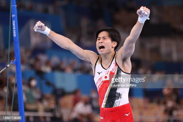 Kazuma Kaya of Team Japan reacts after competing on horizontal bar during the Men's Team Final on day three of the Tokyo 2020 Olympic Games at Ariake...