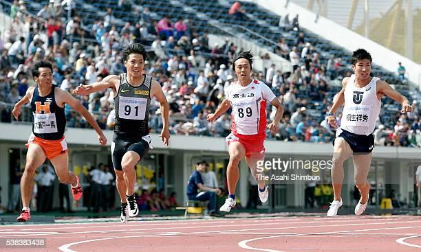 Kazuma Oseto, Ryota Yamagata, Kei Takase and Yoshihide Kiryu compete in the Men's 100m during the Fuse Sprint at the Coca-Cola West Sports Park...