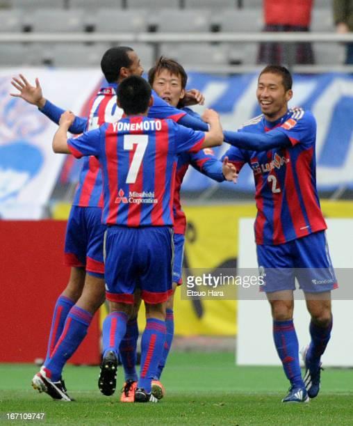 Kazuma Watanabe celebrates soring his team's third goal with his team mates Yuhei Tokunaga Lucas Severino and Takuji Yonemoto during the JLeague...