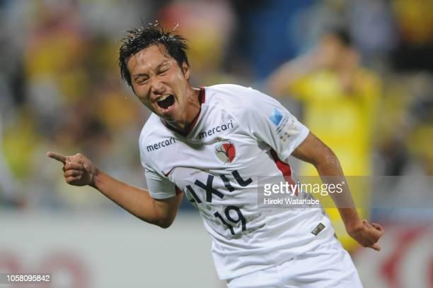 Kazuma Yamaguchi of Kashima Antlers celebrates after scoring his team's third goal during the J.League J1 match between Kashiwa Reysol and Kashima...