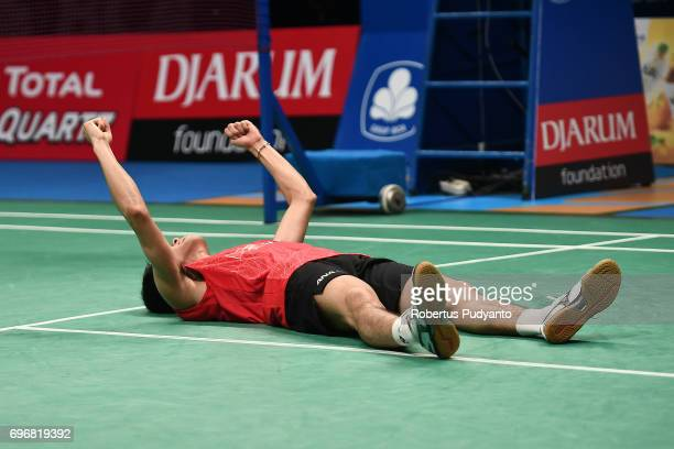Kazumasa Sakai of Japan celebrates victory after beating Prannoy H S of India during Mens Single Semifinal match of the BCA Indonesia Open 2017 at...