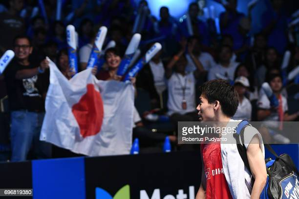 Kazumasa Sakai of Japan leaves the court after beating Prannoy H S of India during Mens Single Semifinal match of the BCA Indonesia Open 2017 at...