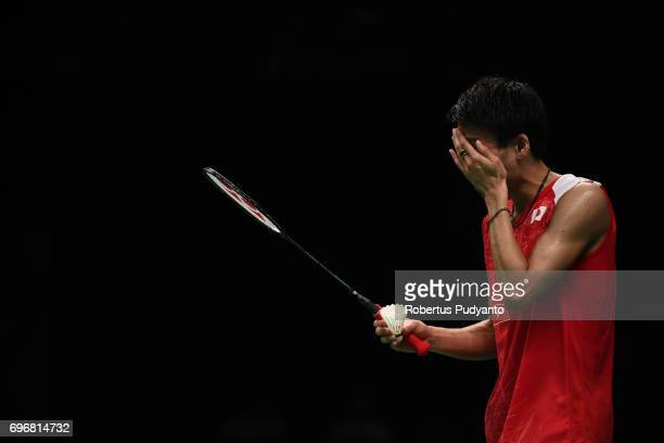 Kazumasa Sakai of Japan reacts against Prannoy H S of India during Mens Single Semifinal match of the BCA Indonesia Open 2017 at Plenary Hall Jakarta...