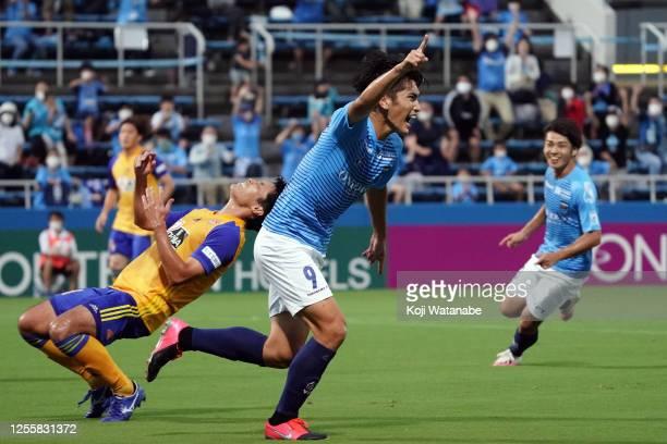 Kazunari Ichimi of Yokohama FC celebrates after scoring his team's first goal during the J.League Meiji Yasuda J1 match between Yokohama FC and...