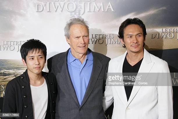 Kazunari Ninomiya Clint Eastwood and Tsuyoshi Ihara attend the photocall of 'Letters from Iwo Jima' in Paris