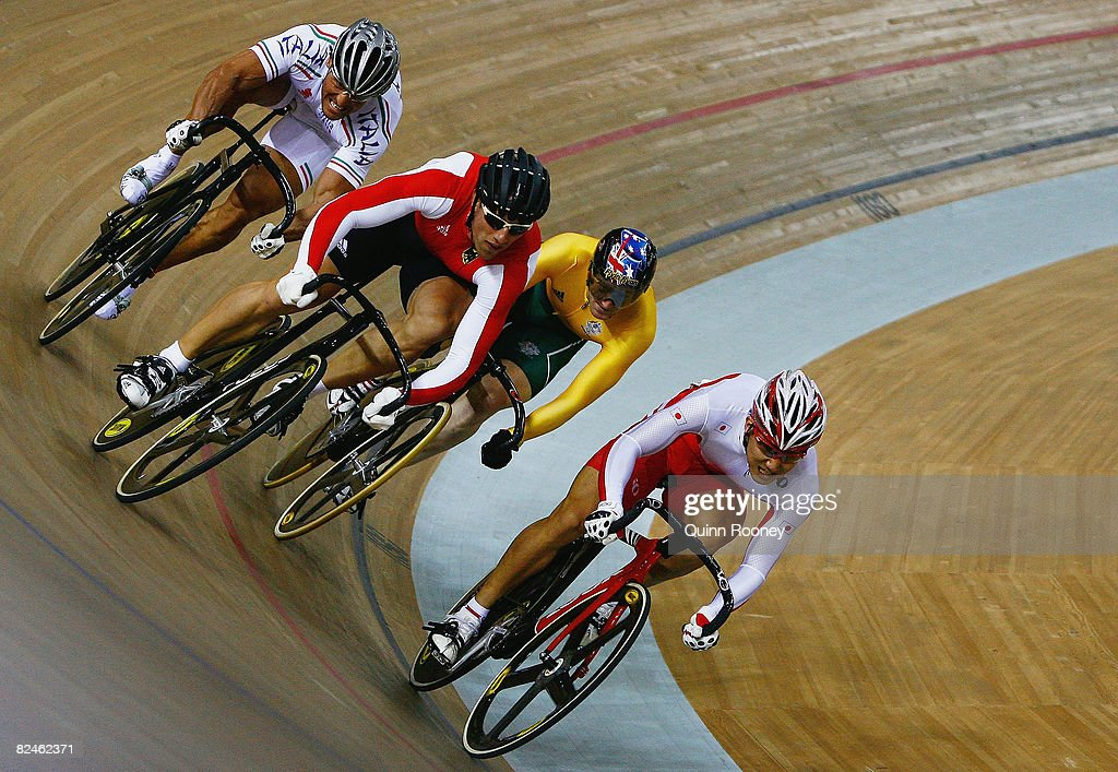 Kazunari Watanabe of Japan competes in the Men's Sprint Race for 9th-12th Places in the track cycling event at the Laoshan Velodrome on Day 11 of the Beijing 2008 Olympic Games on August 19, 2008 in Beijing, China.