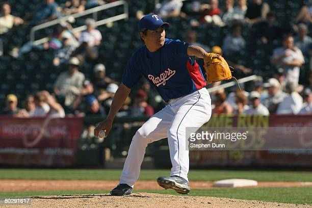 Kazuo Fukumori of the Texas Rangers pitches against the Milwaukee Brewers on March 5 2008 at Surprise Stadium in Surprise Arizona The Brewers won 126