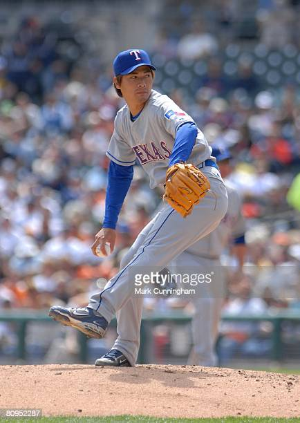 Kazuo Fukumori of the Texas Rangers pitches during the game against the Detroit Tigers at Comerica Park in Detroit Michigan on April 24 2008 The...