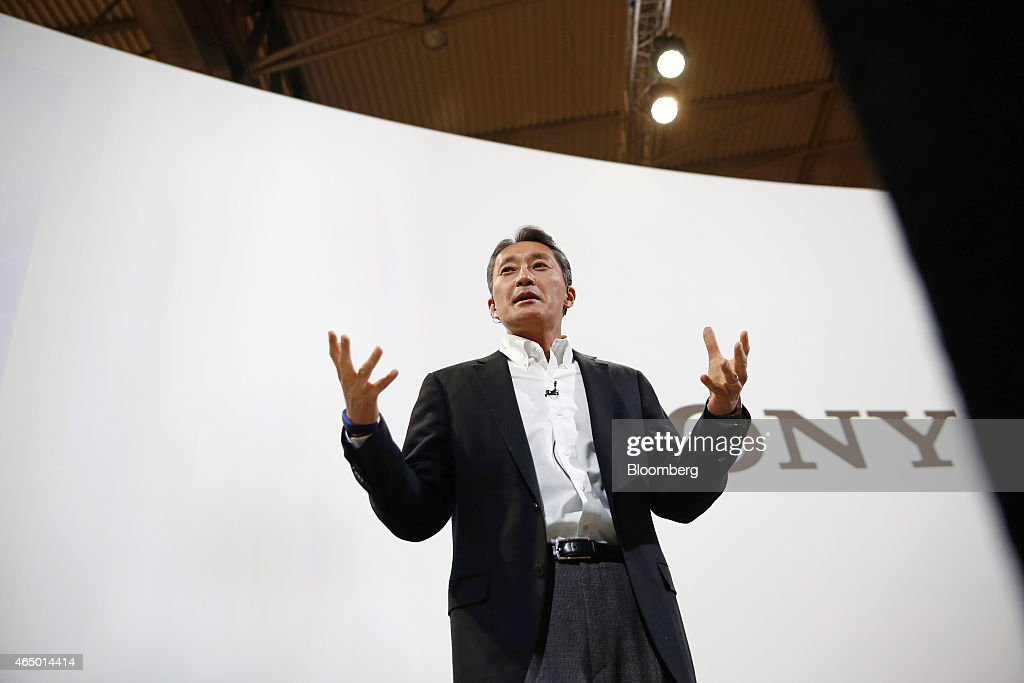 Kazuo Hirai, chief executive officer of Sony Corp., gestures as he speaks during a news conference at the Mobile World Congress in Barcelona, Spain, on Monday, March 2, 2015. The event, which generates several hundred million euros in revenue for the city of Barcelona each year, also means the world for a week turns its attention back to Europe for the latest in technology, despite a lagging ecosystem. Photographer: Simon Dawson/Bloomberg via Getty Images
