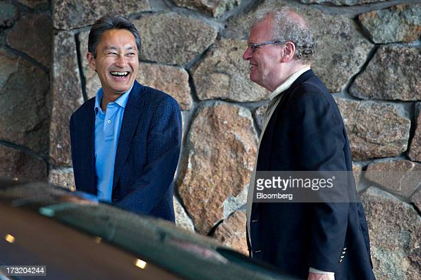 Kazuo Hirai chief executive officer of Sony Corp left smiles as he arrives with Howard Stringer former chairman of Sony Corp at the Allen Co Media...