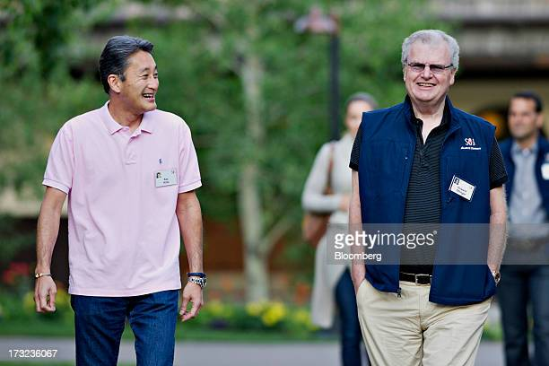 Kazuo Hirai chief executive officer of Sony Corp left walks with Howard Stringer former chief executive officer of Sony Corp as they arrive for a...